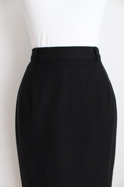 100% WOOL BLACK FITTED PENCIL SKIRT - SIZE 6