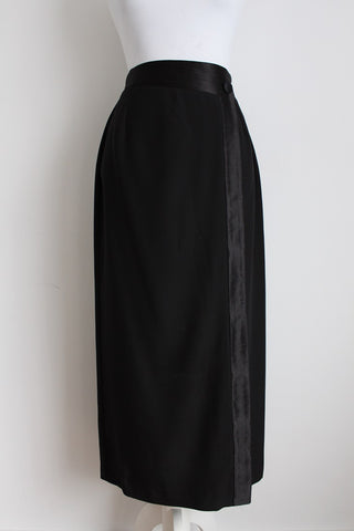 VINTAGE BLACK SATIN EDGE MAXI WRAP SKIRT - SIZE 8