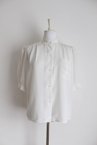 VINTAGE WHITE PLEATED SHOULDER BLOUSE SHIRT - SIZE 12