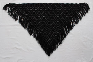 VINTAGE BLACK CROCHET KNIT FRINGED SHAWL