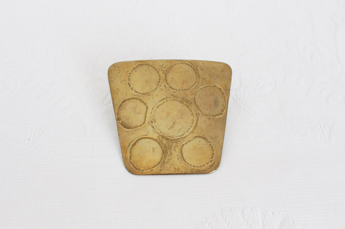 VINTAGE BRASS HAND MADE MODERNIST BELT BUCKLE