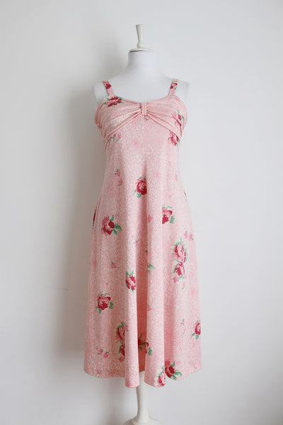 VINTAGE FLORAL PASTEL PINK SUMMER DRESS - SIZE 12