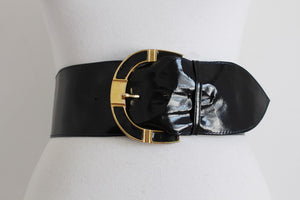 VINTAGE ROWALLAN GENUINE PATENT LEATHER BLACK BELT