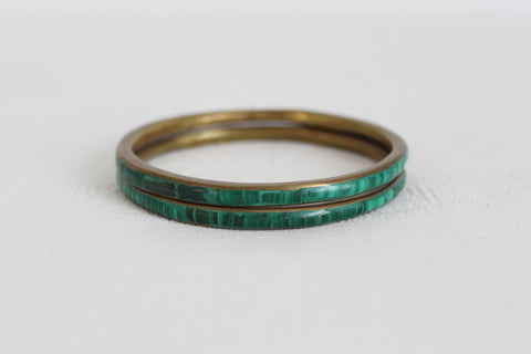 VINTAGE LOT OF 2 MALACHITE INLAY BRASS BANGLES