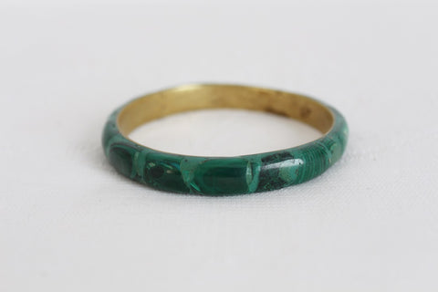 VINTAGE MALACHITE INLAY BRASS BANGLE