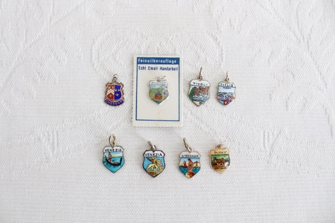VINTAGE STERLING SILVER TRAVEL SOUVENIR CHARMS