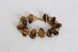 VINTAGE TIGERS EYE GEM STONE CHAIN BRACELET