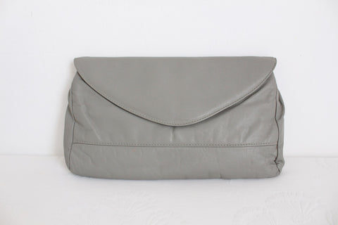 VINTAGE GREY GENUINE LEATHER CLUTCH PURSE