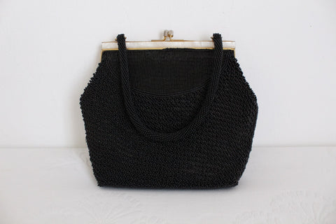 VINTAGE BEADED BLACK EVENING BAG