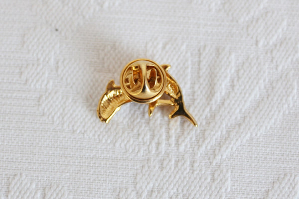 VINTAGE DOLPHINS GOLD SILVER TONE STUD PIN