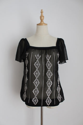 ESPRIT BLACK SHEER EMBROIDERY TOP - SIZE 10