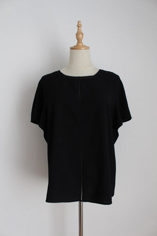 FOREVER NEW BLACK RUFFLE SLEEVE TOP - SIZE 10