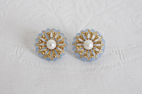 VINTAGE FAUX PEARL BLUE GOLD STUD EARRINGS