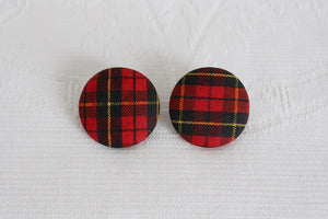 VINTAGE TARTAN PLAID RED CLIP-ON EARRINGS