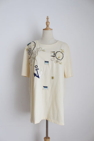 VINTAGE NAUTICAL EMBROIDERY CREAM T-SHIRT - SIZE L