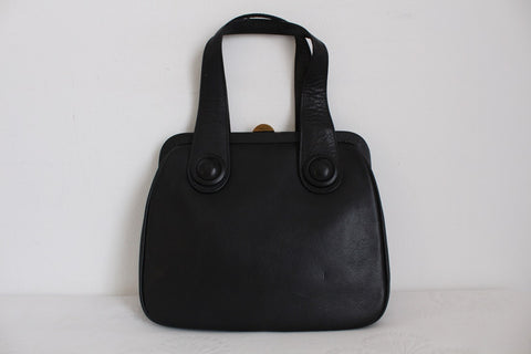 VINTAGE GENUINE LEATHER BLACK MOD STYLE HANDBAG
