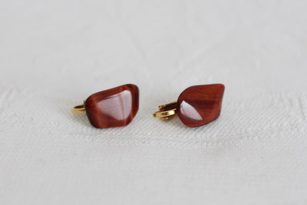 VINTAGE RED TIGER'S EYE GEM STONE CLIP-ON EARRINGS