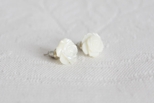 VINTAGE MOTHER OF PEARL CARVED ROSE STUD EARRINGS