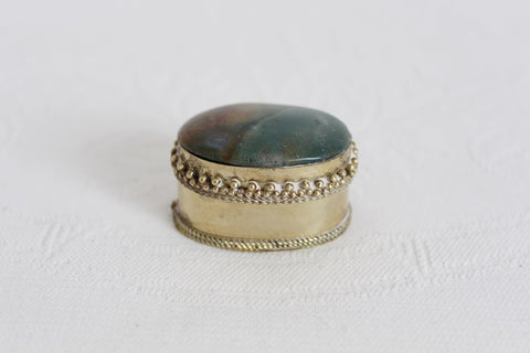 VINTAGE SEMI PRECIOUS GEM STONE MINI TRINKET BOX
