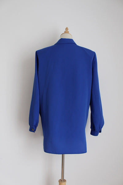 VINTAGE ROYAL BLUE BUTTON DOWN BLOUSE - SIZE 12