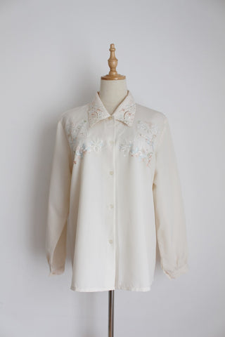 VINTAGE FLORAL EMBROIDERY CREAM BLOUSE - SIZE 12