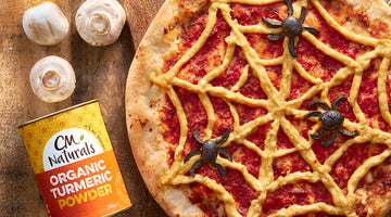 TURMERIC CHEESE SPIDERWEB PIZZA! 🕷🍕