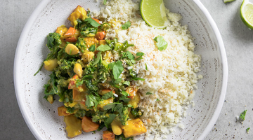 VEGAN COCONUT CURRY WITH ROAST PUMPKIN AND KALE