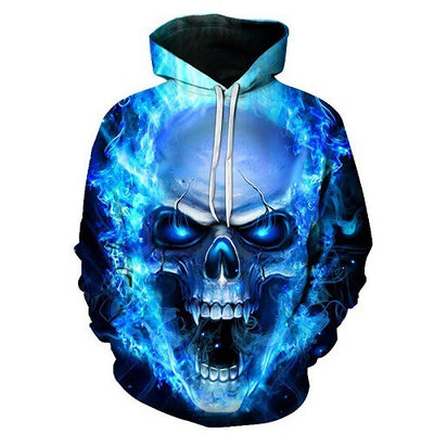 Cotton Blue Flaming Skull Hoodie