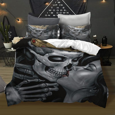 3D Sugar Skull Couple in Love Bedding Set