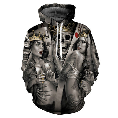 Crowned King Cotton Skull Hoodie