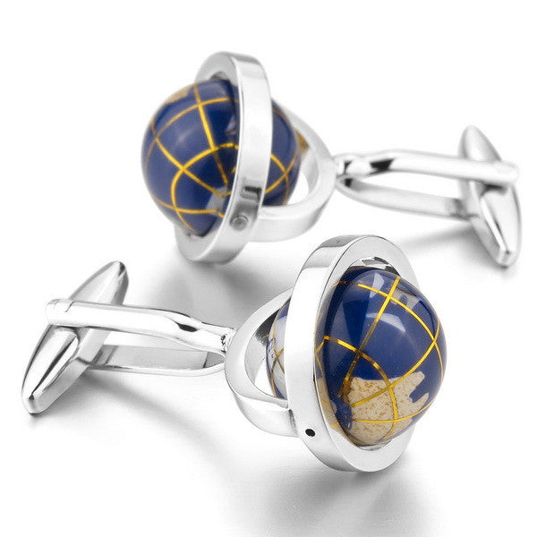 Cufflinks mini globe in 3 colors