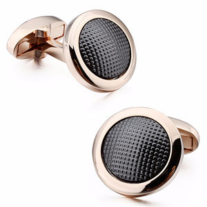 Elegant round cufflinks in Rose Gold and Colored Bluish Coating metal