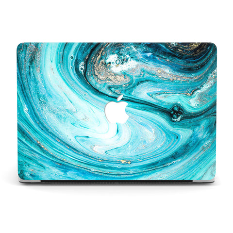 A LOT LIKE WATER GOLD MARBLE MACBOOK CASE