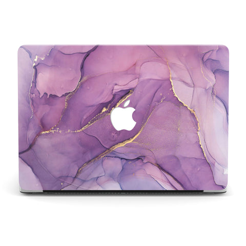 GLITTER LIKE GOLD PURPLE MARBLE MACBOOK CASE