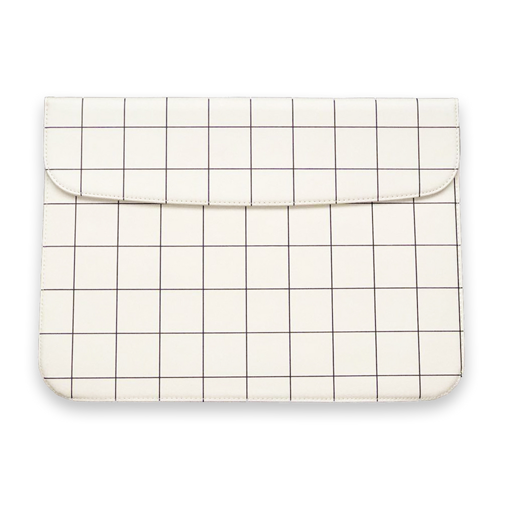 WHITE GRID LAPTOP SLEEVE