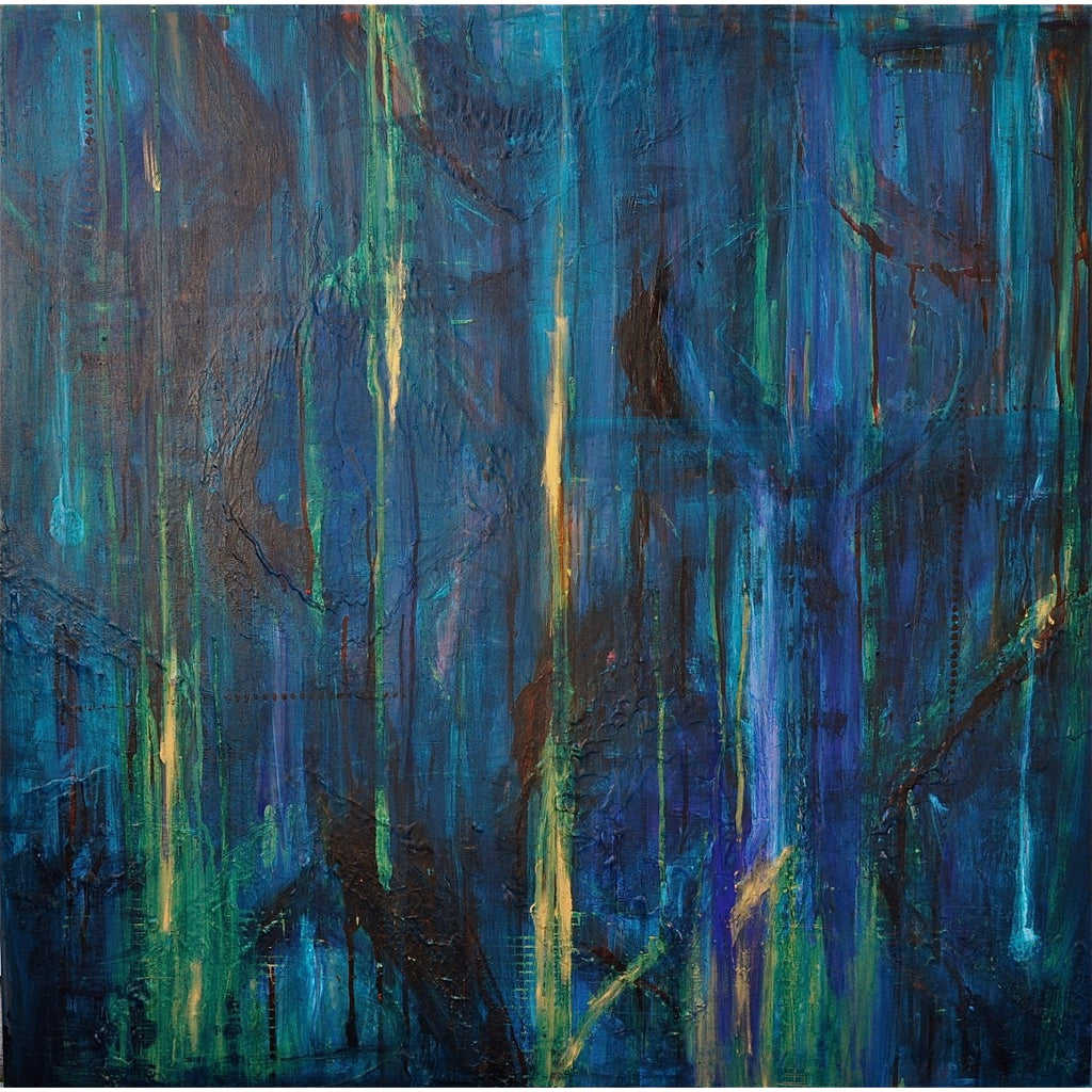 "36"" x 36"" Acrylic Abstract Turquoise, Blue, Green, Gold"
