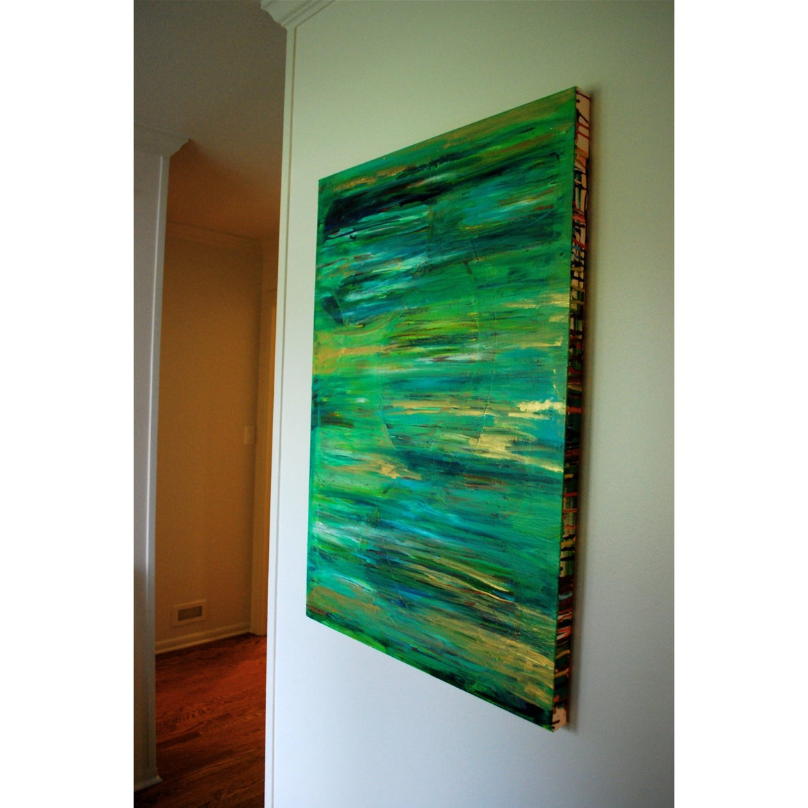 "24""x 36"" ""Abstract Acrylic Blue Green Gold II"""