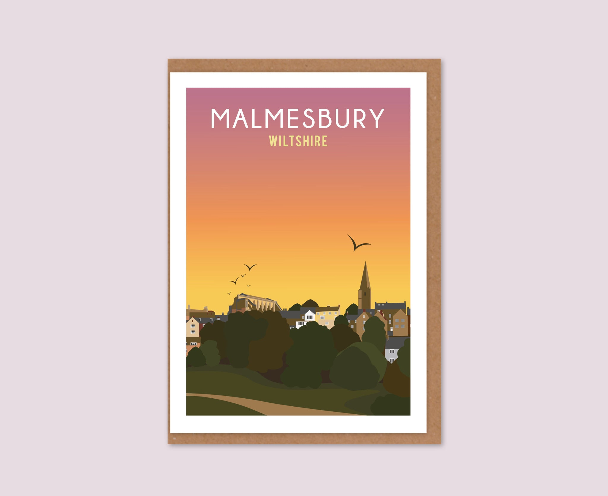 Malmesbury townscape sunset greetings card