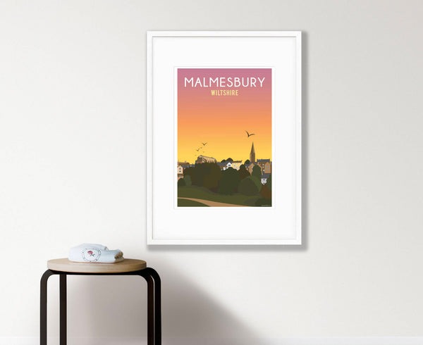 Malmesbury Town Sunset Poster in white frame