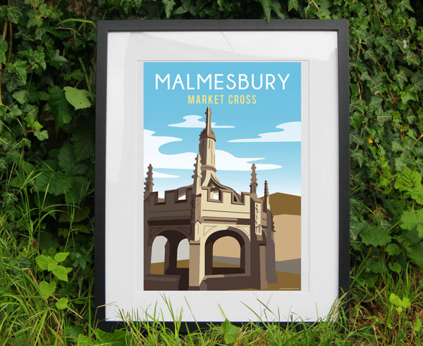 Malmesbury Market Cross Poster in black frame