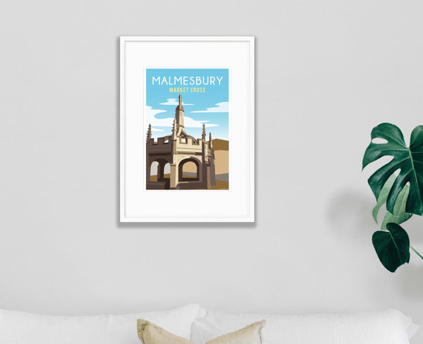 Malmesbury Market Cross Poster in white frame
