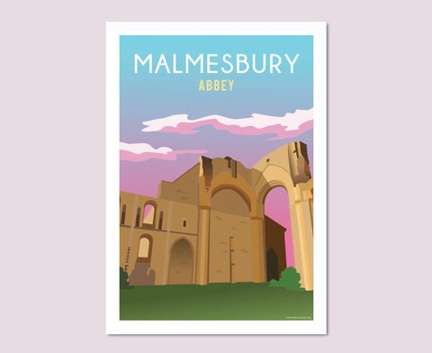 Malmesbury Abbey Ruins Sunset Poster