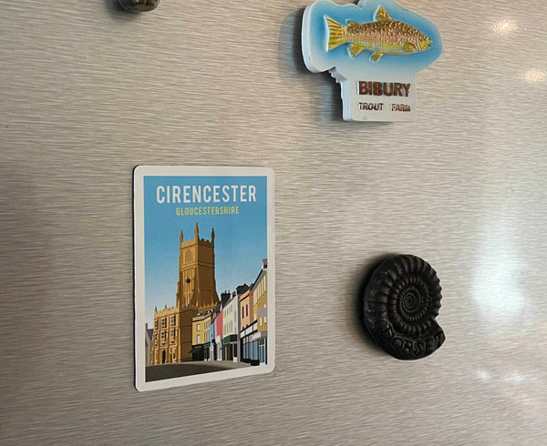 Cirencester magnet on fridge with other magnets