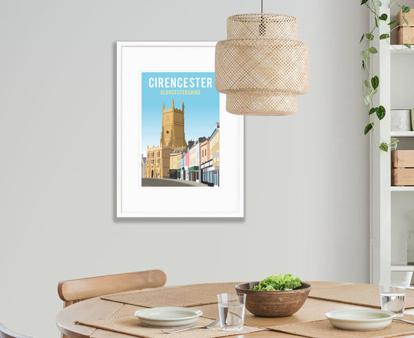 Cirencester Church & Marketplace Poster in white frame