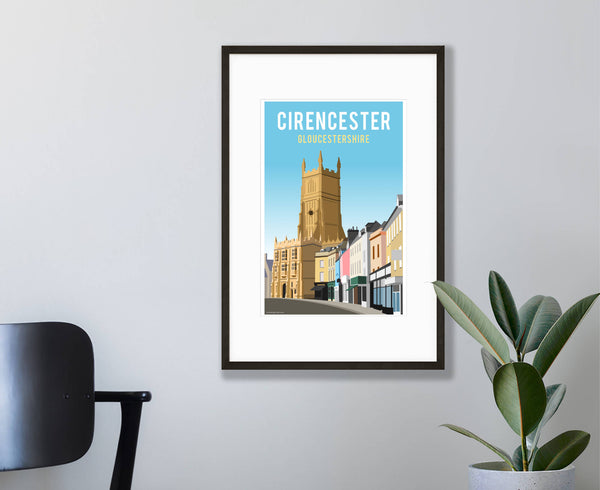 Cirencester Church & Marketplace Poster in wood frame