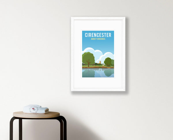 Cirencester Abbey Grounds Poster in white frame