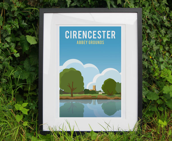 Cirencester Abbey Grounds Poster in black frame