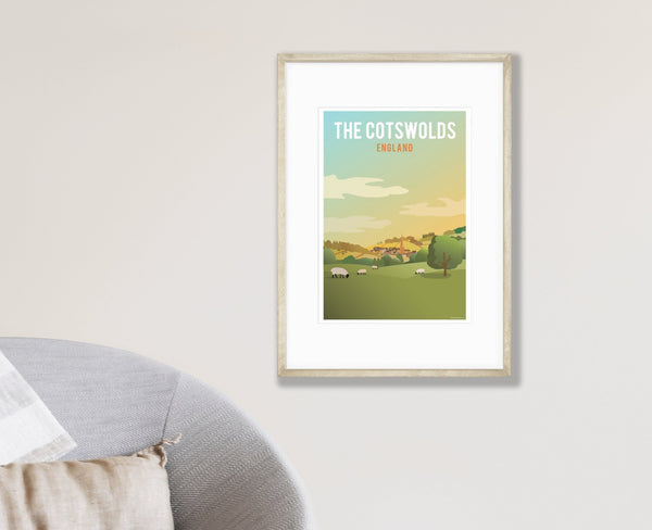 The Cotswolds Poster in wood frame