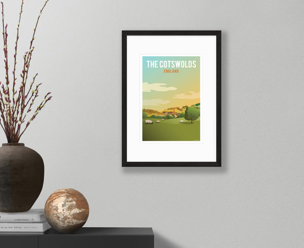 The Cotswolds Poster in black frame