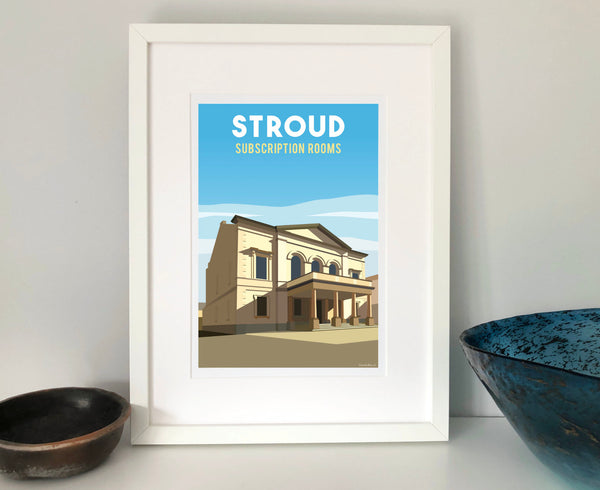 Stroud Subscription Rooms Poster in white frame